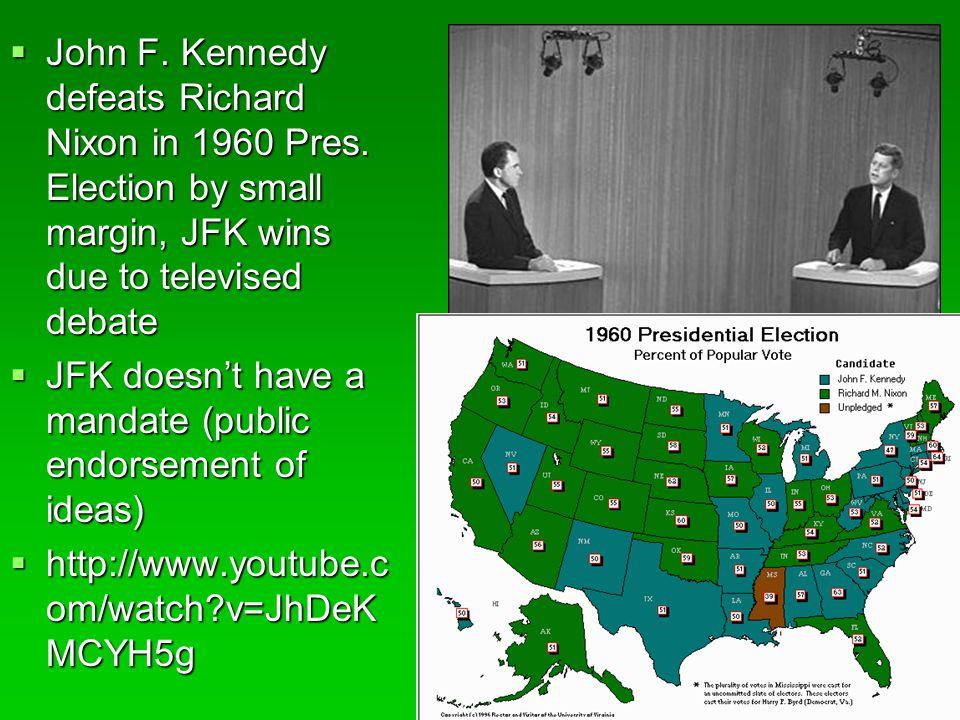 John F. Kennedy defeats Richard Nixon in 1960 Pres