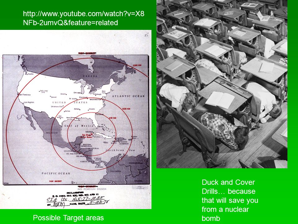 http://www.youtube.com/watch v=X8NFb-2umvQ&feature=related Duck and Cover Drills… because that will save you from a nuclear bomb.