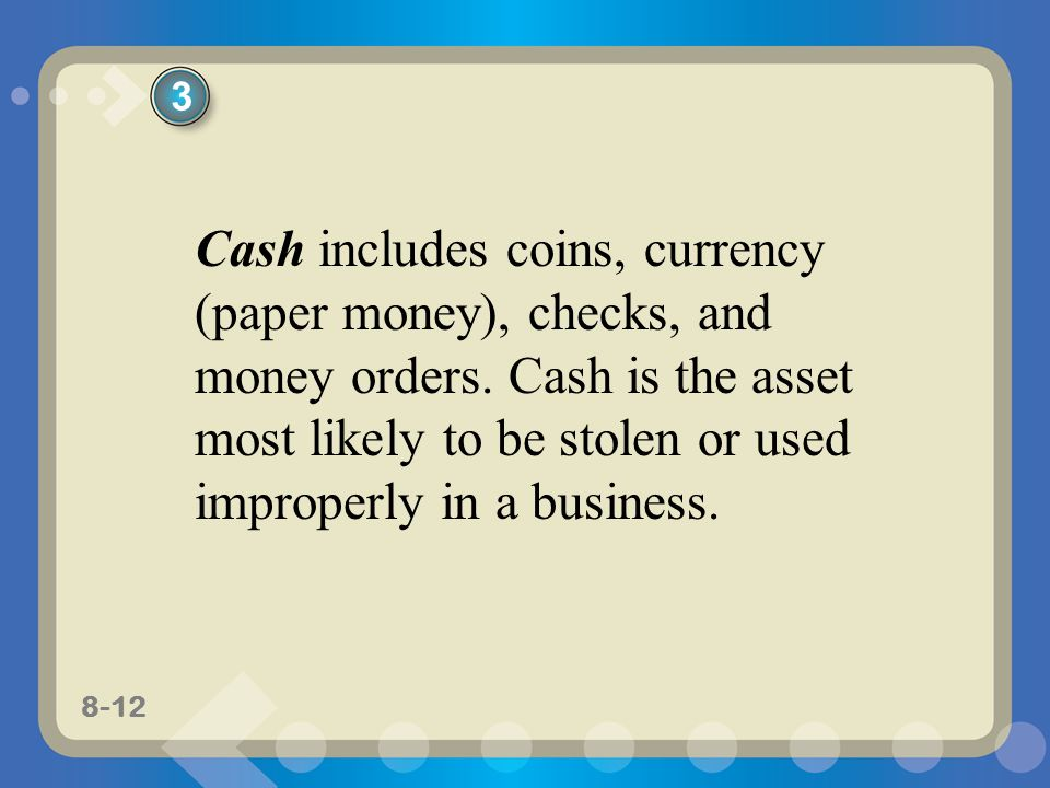 3 Cash includes coins, currency (paper money), checks, and money orders.