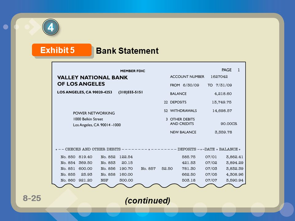 4 Exhibit 5 Bank Statement (continued)