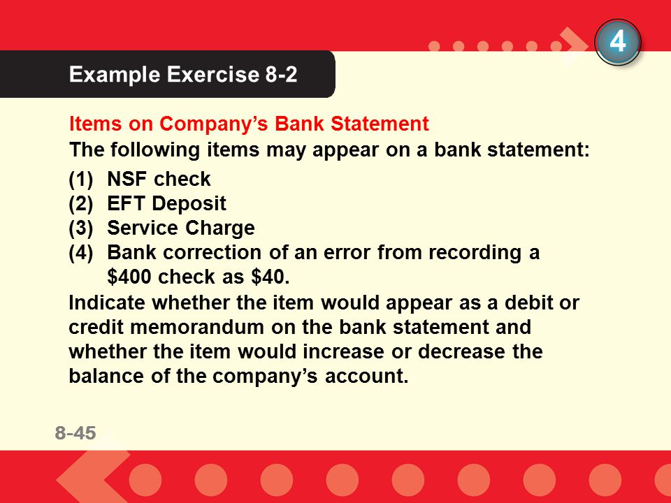 4 Example Exercise 8-2 Items on Company's Bank Statement