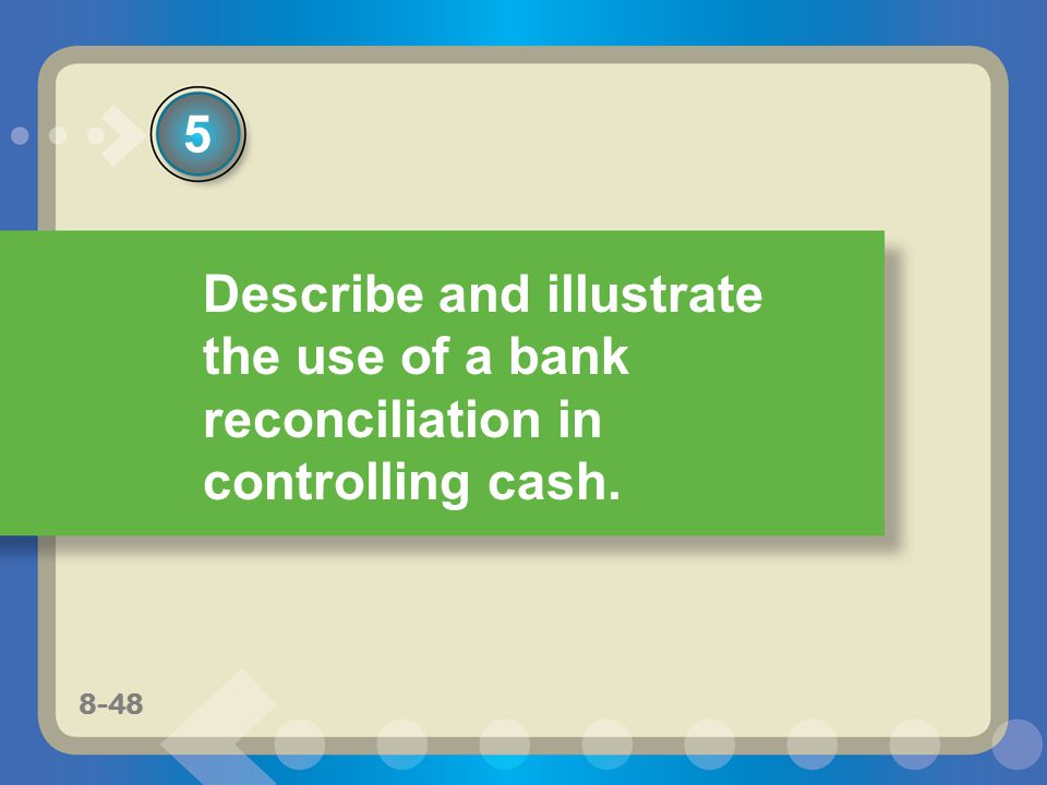 5 Describe and illustrate the use of a bank reconciliation in controlling cash. 8-48