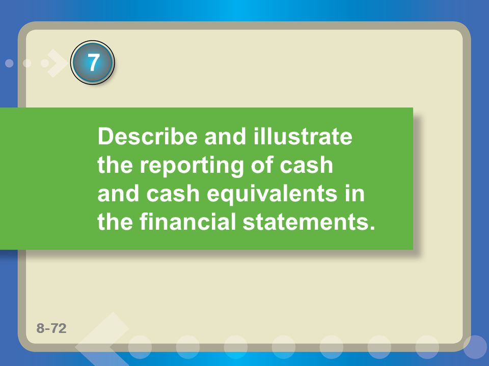 7 Describe and illustrate the reporting of cash and cash equivalents in the financial statements.