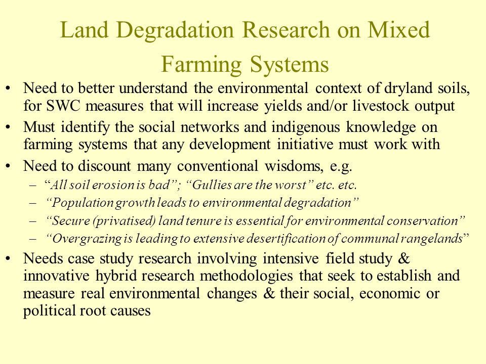 Land Degradation Research on Mixed Farming Systems