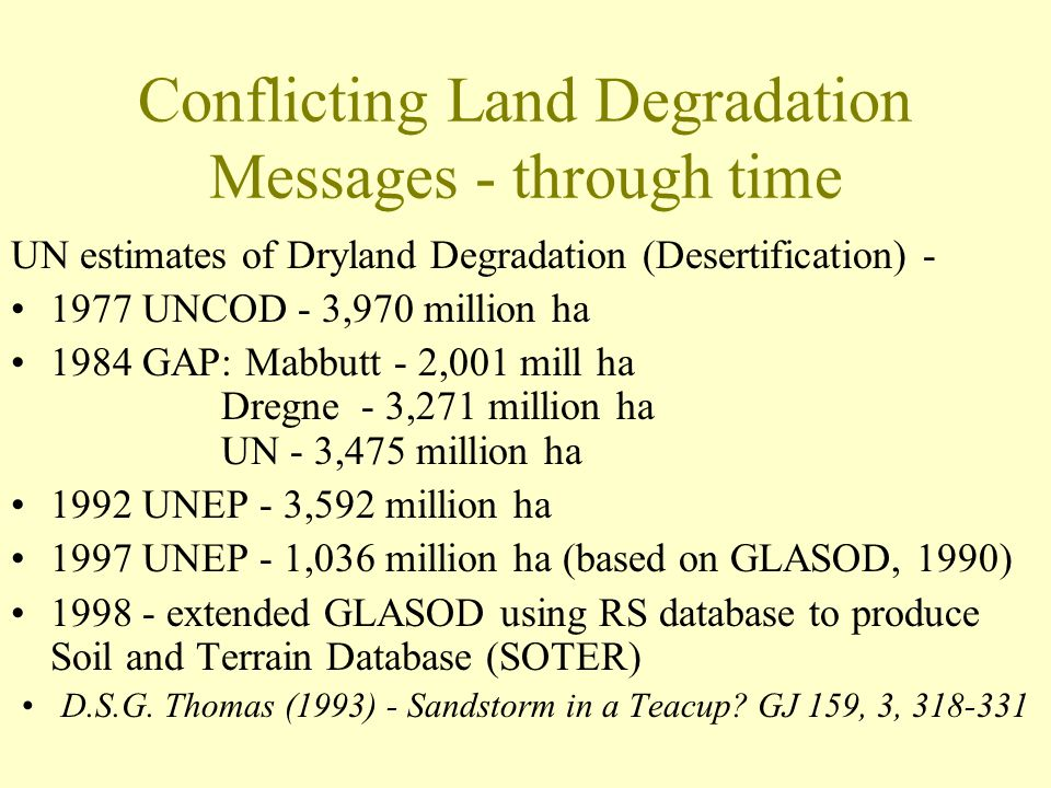 Conflicting Land Degradation Messages - through time