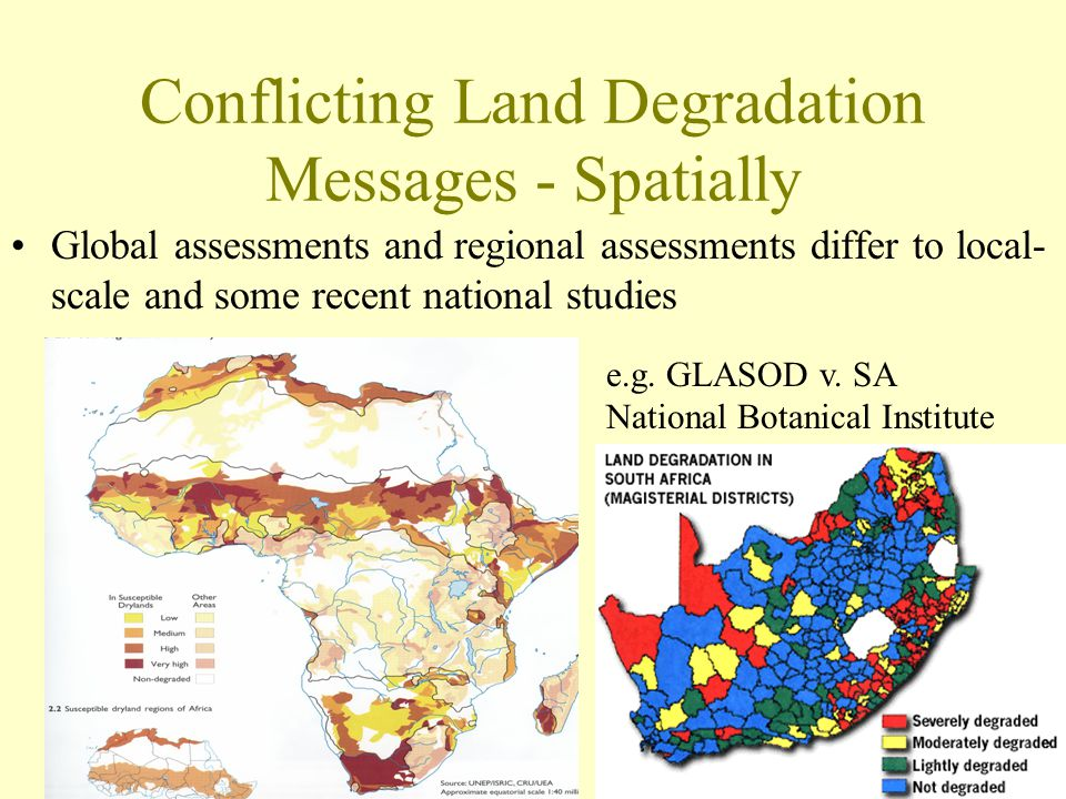 Conflicting Land Degradation Messages - Spatially