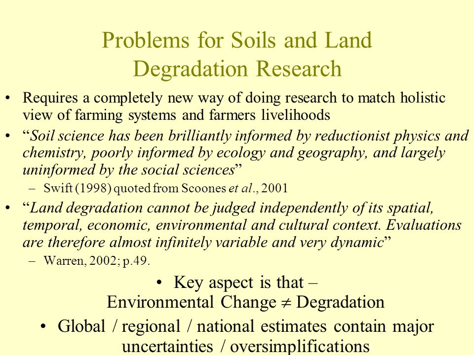 Problems for Soils and Land Degradation Research