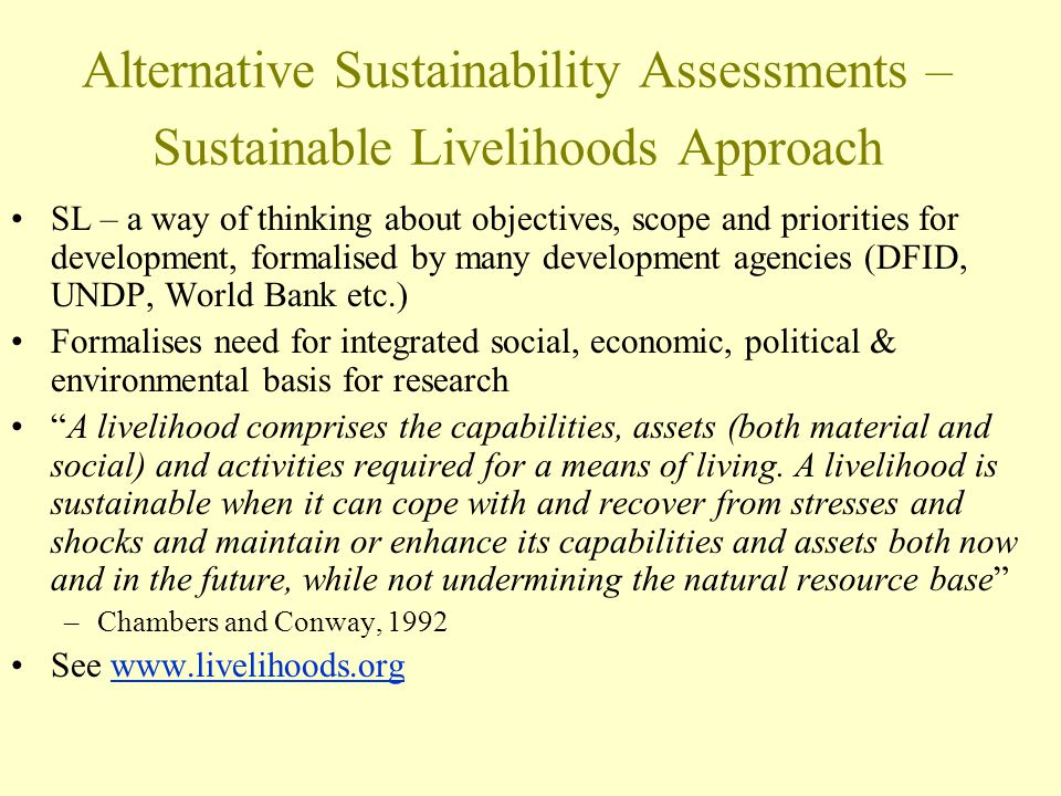 Alternative Sustainability Assessments – Sustainable Livelihoods Approach