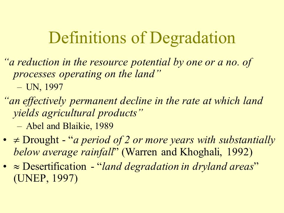 Definitions of Degradation