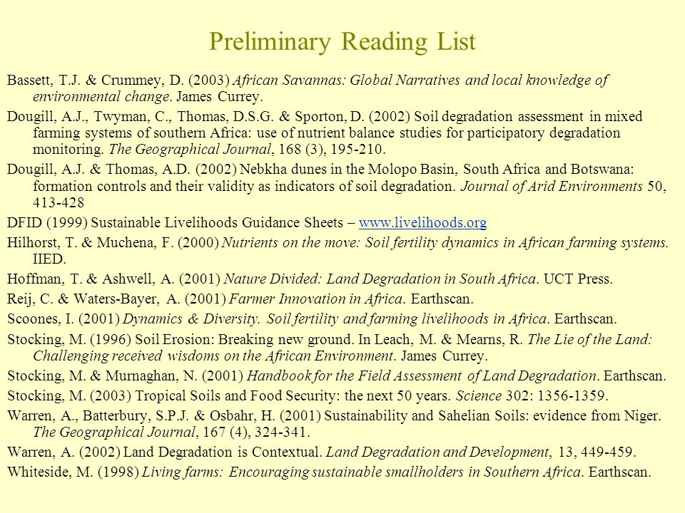 Preliminary Reading List