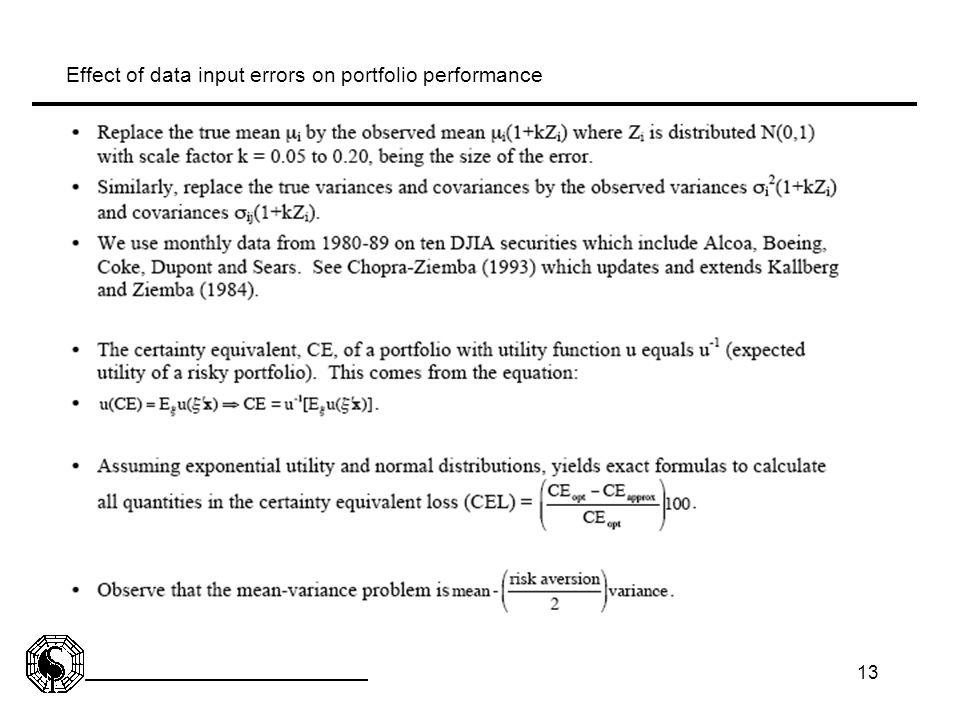 Effect of data input errors on portfolio performance