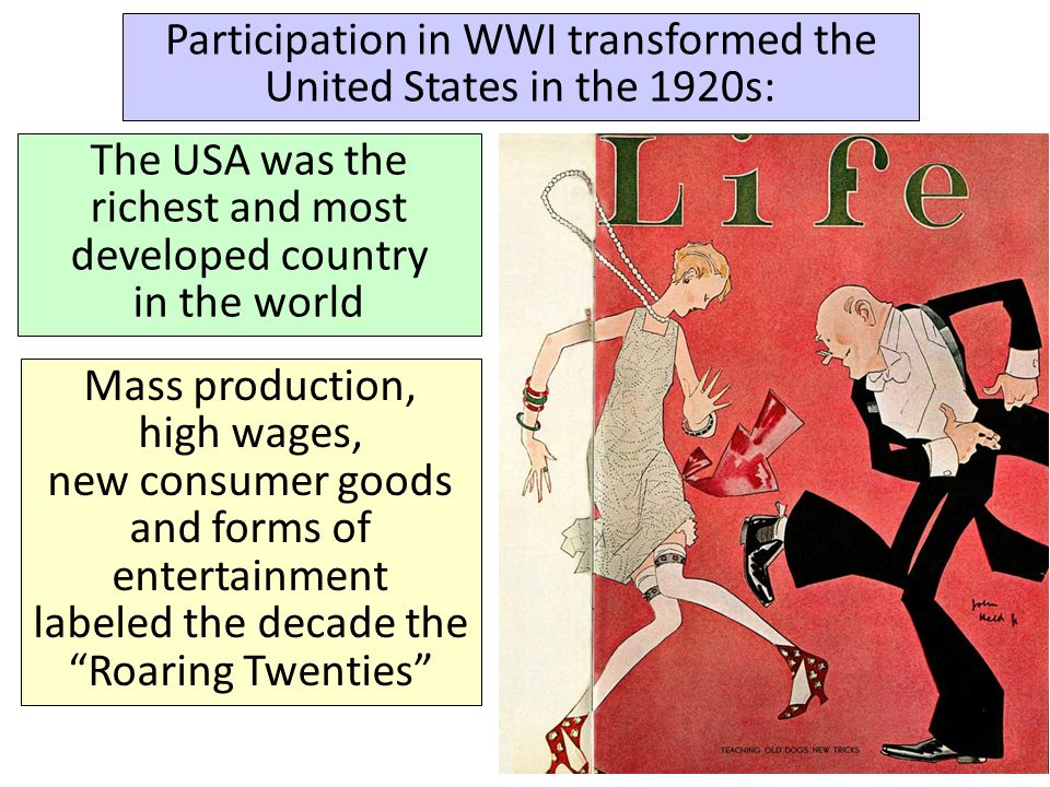 Participation in WWI transformed the United States in the 1920s:
