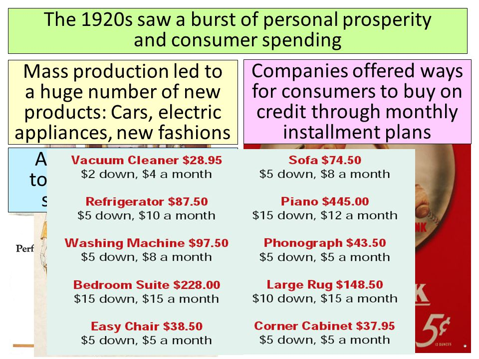 The 1920s saw a burst of personal prosperity and consumer spending