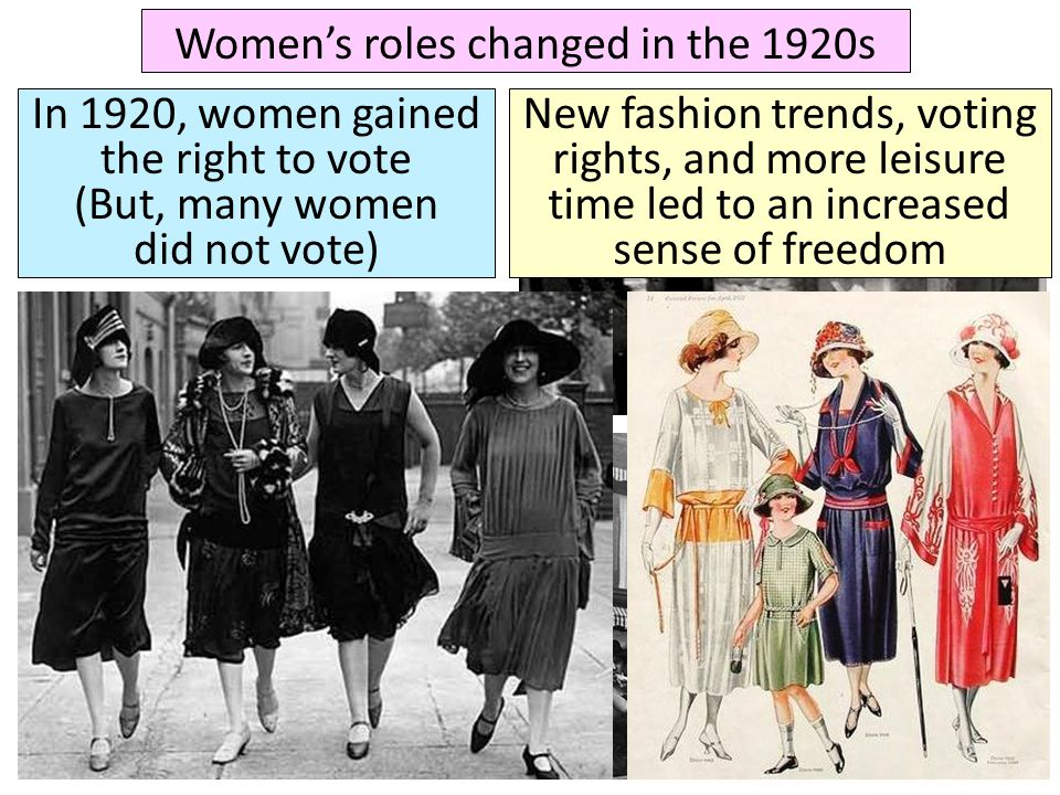 Women's roles changed in the 1920s