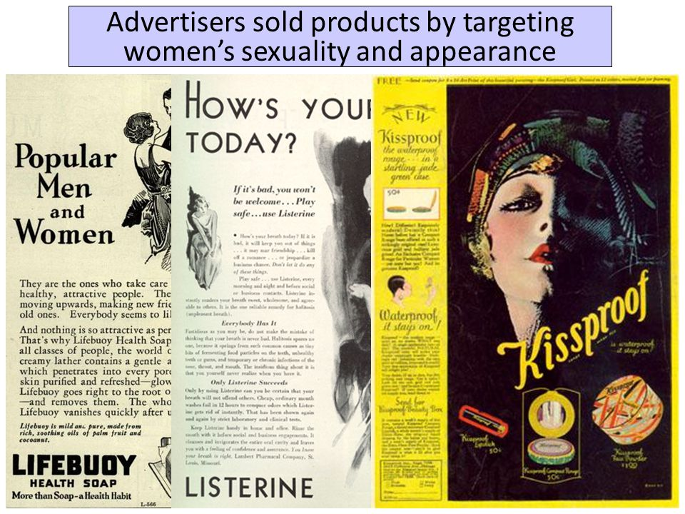 Advertisers sold products by targeting women's sexuality and appearance