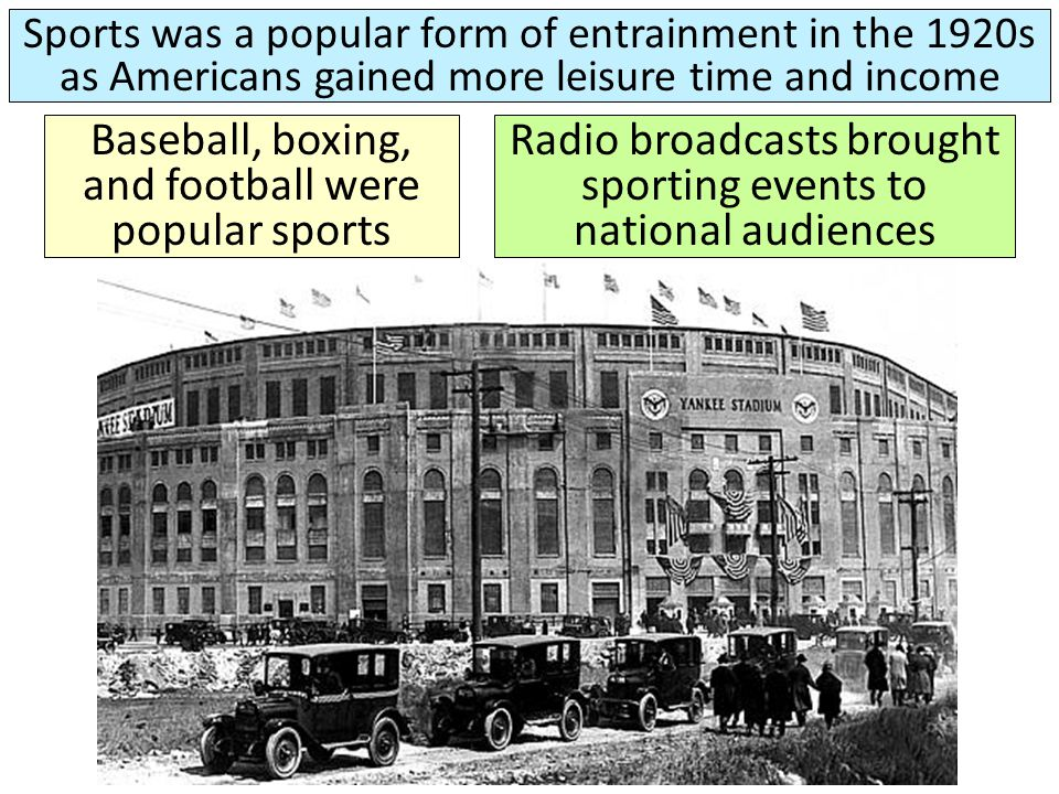 Baseball, boxing, and football were popular sports