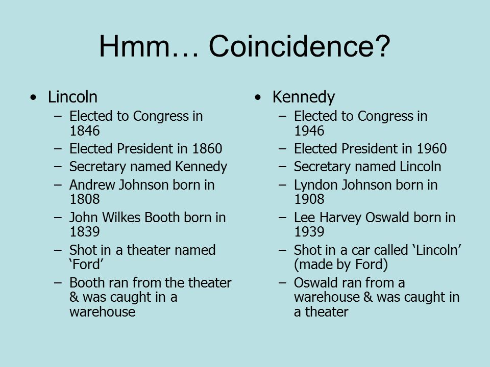 Hmm… Coincidence Lincoln Kennedy Elected to Congress in 1846
