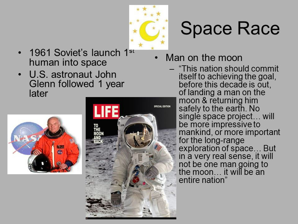 Space Race 1961 Soviet's launch 1st human into space Man on the moon