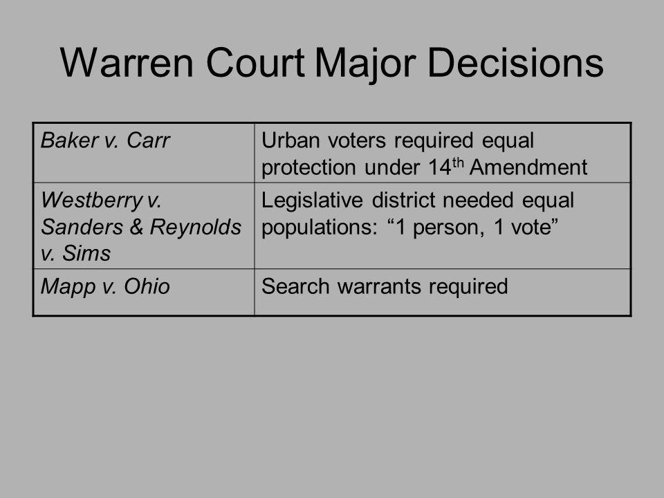 Warren Court Major Decisions