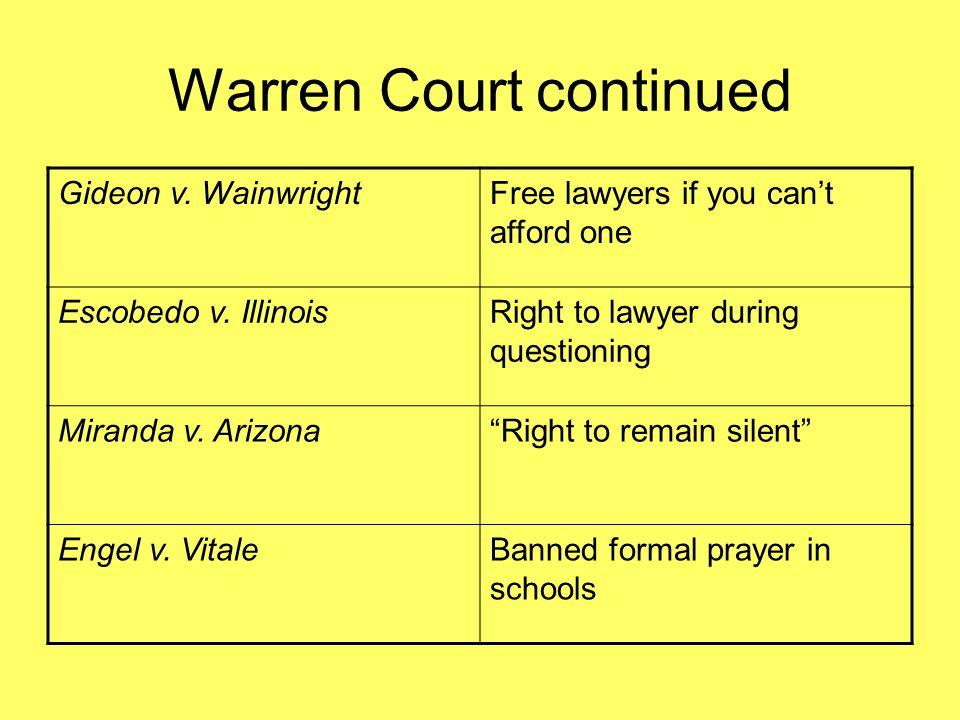 Warren Court continued