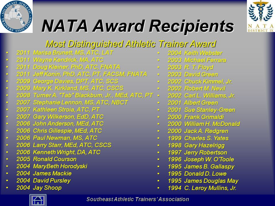 NATA Award Recipients Most Distinguished Athletic Trainer Award