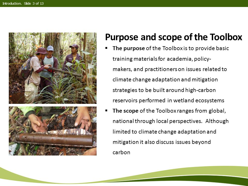 Purpose and scope of the Toolbox