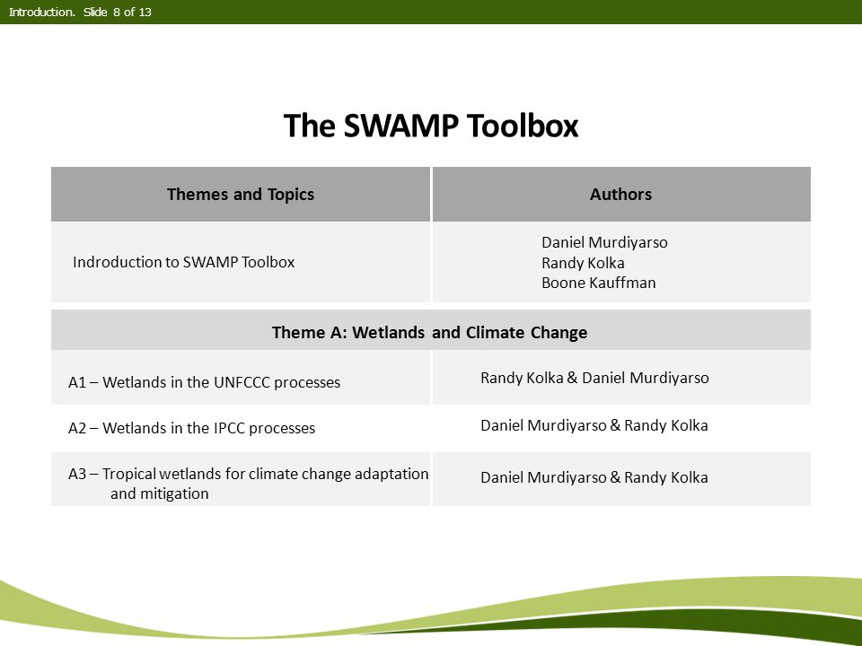 Theme A: Wetlands and Climate Change
