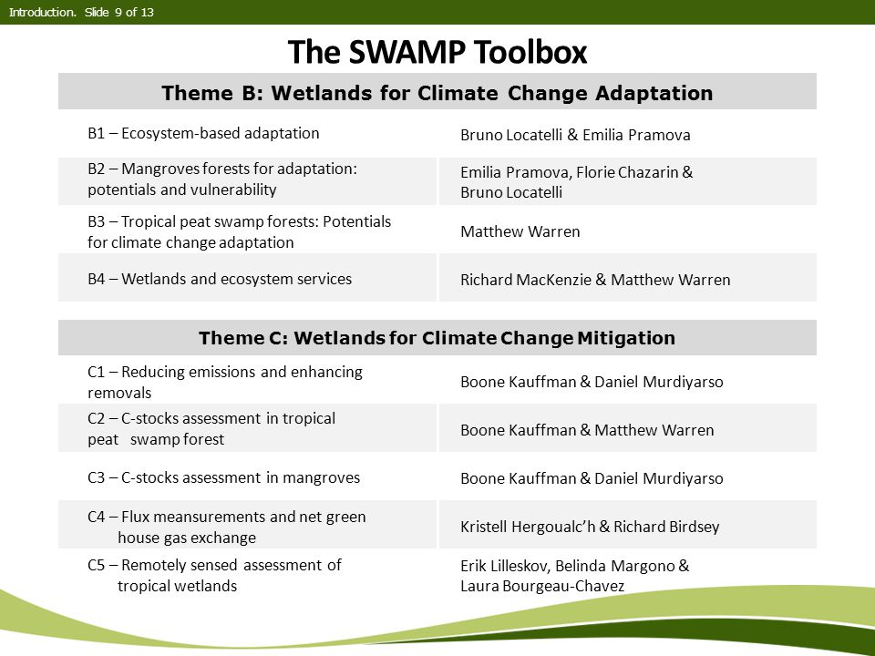 The SWAMP Toolbox Theme B: Wetlands for Climate Change Adaptation