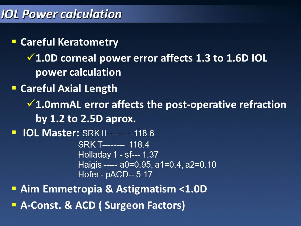 IOL Power calculation Careful Keratometry