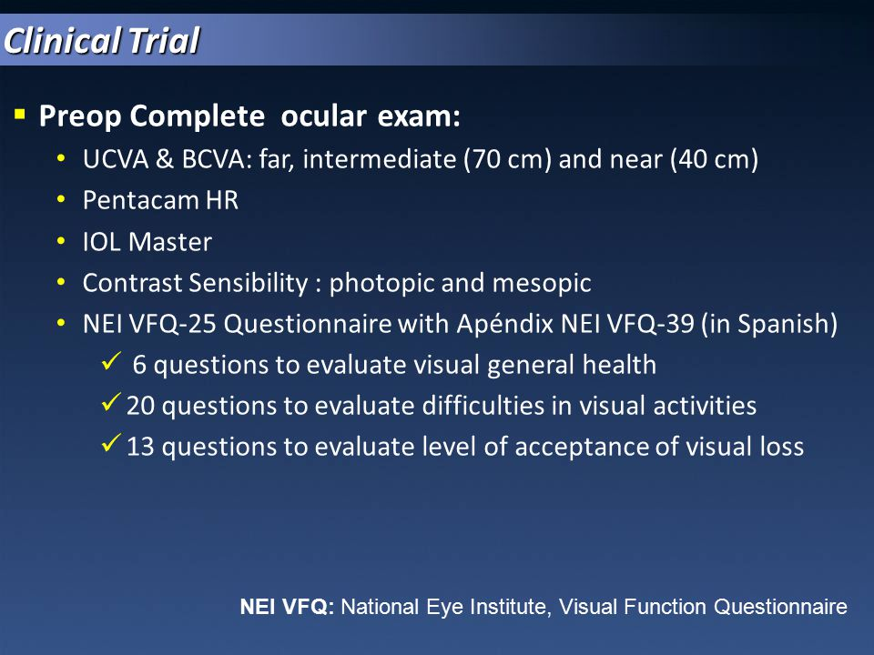 Clinical Trial Preop Complete ocular exam: