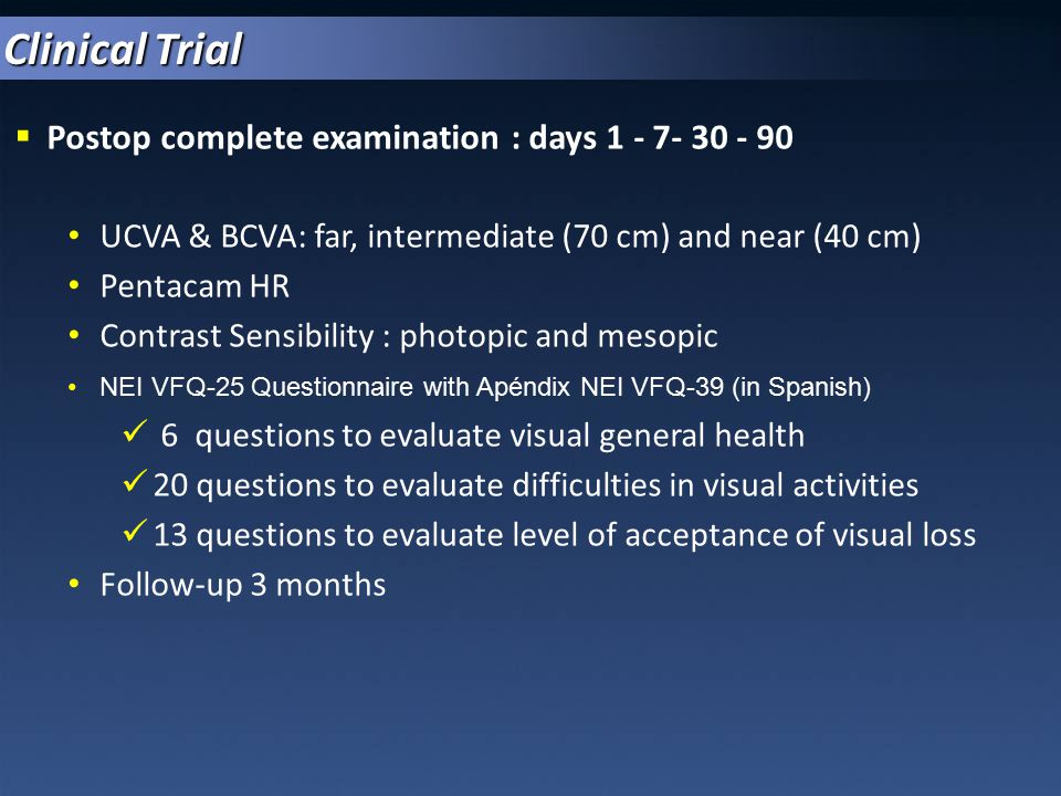Clinical Trial Postop complete examination : days 1 - 7- 30 - 90