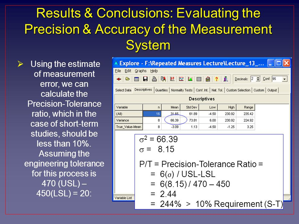 Results & Conclusions: Evaluating the Precision & Accuracy of the Measurement System