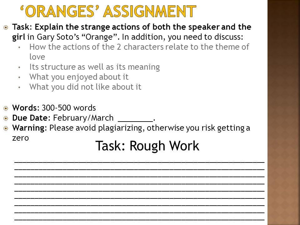 'Oranges' Assignment Task: Rough Work