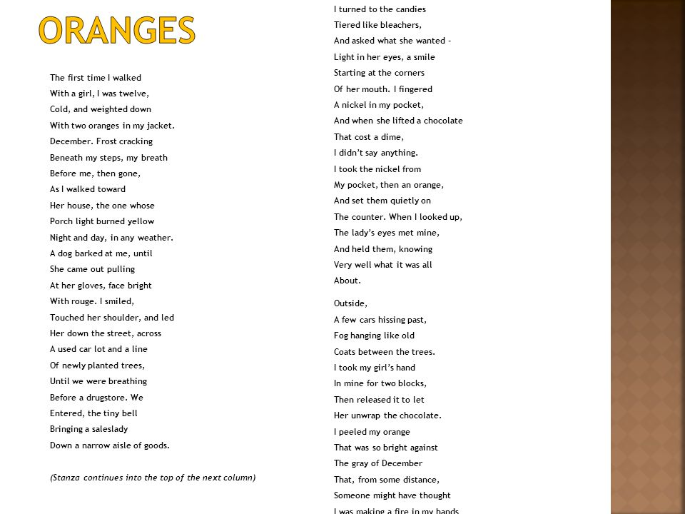 "the natural innocence of children in the poem oranges by gary soto Gary soto actively portrays the importance of innocence in a child's life through his poem ""oranges"" this poem, like many others, is a narrative."