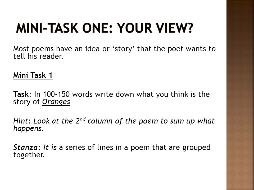 Mini-Task One: Your View