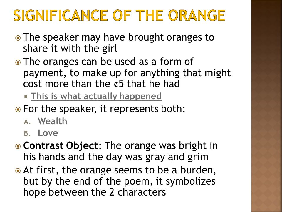 Significance of The Orange