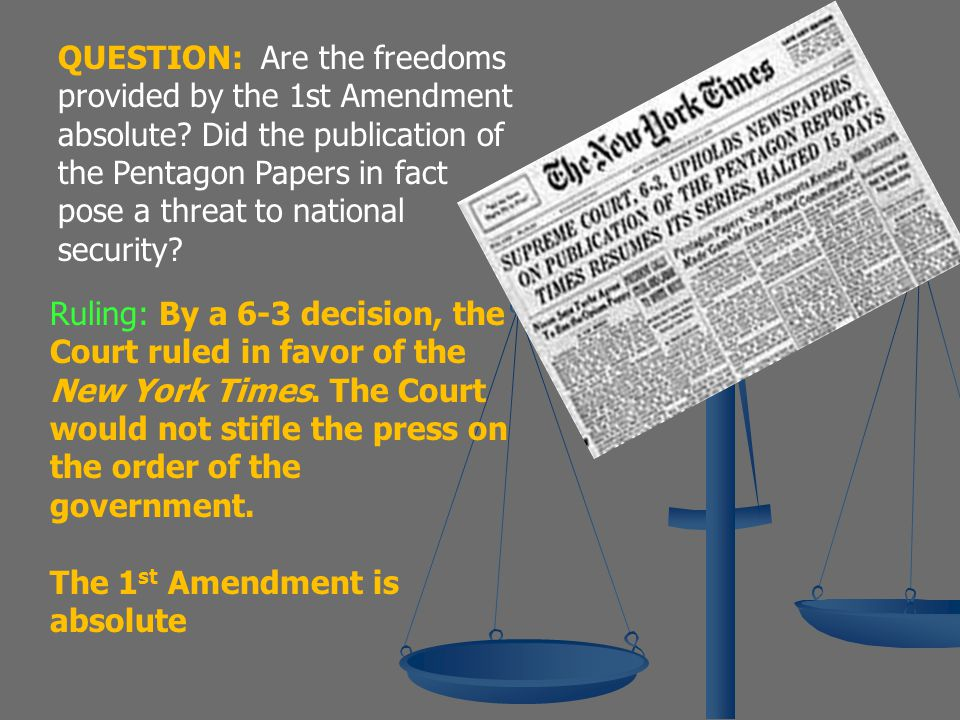 QUESTION: Are the freedoms provided by the 1st Amendment absolute