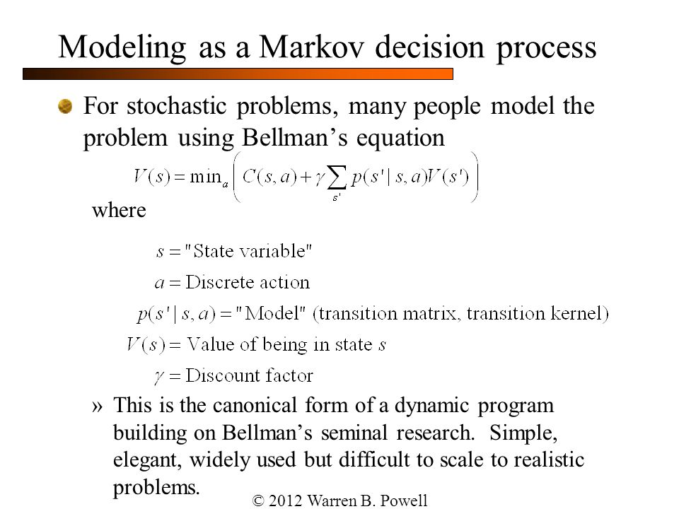 Modeling as a Markov decision process