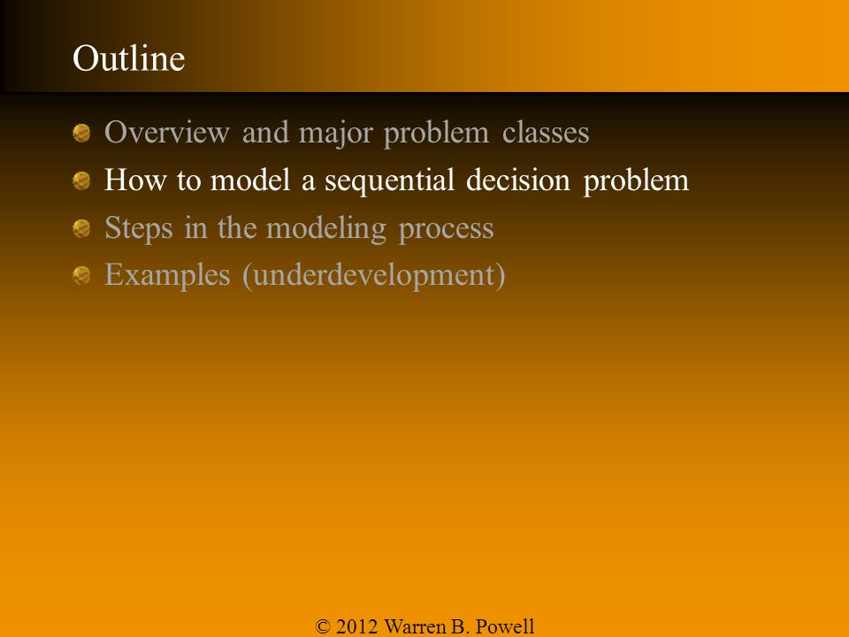 Outline Overview and major problem classes
