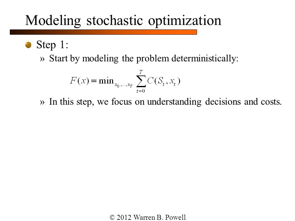 Modeling stochastic optimization