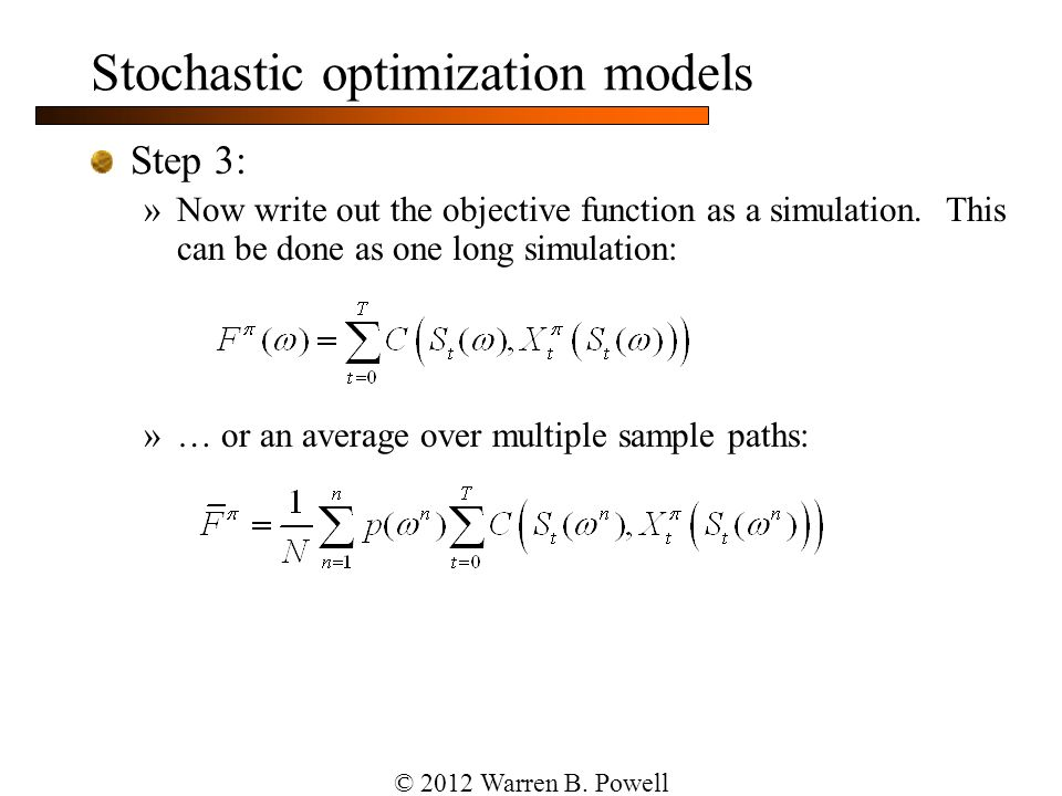 Stochastic optimization models