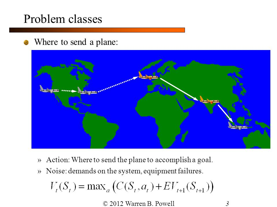 Problem classes Where to send a plane:
