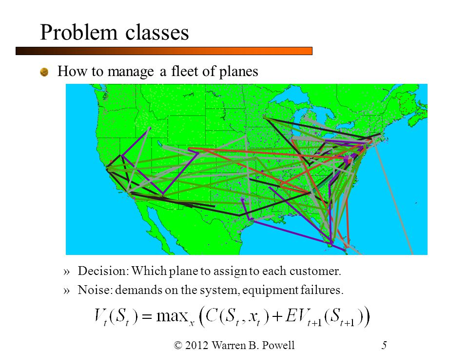 Problem classes How to manage a fleet of planes