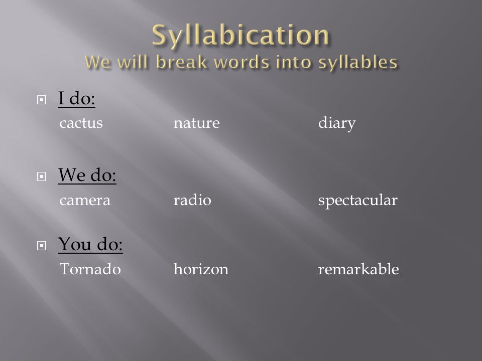 Syllabication We will break words into syllables