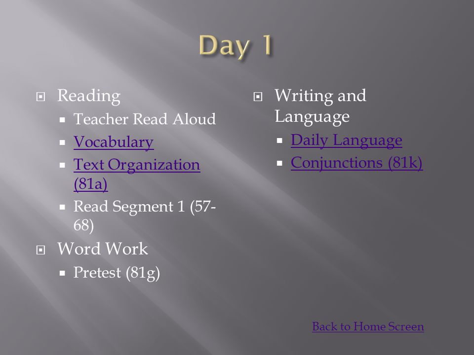 Day 1 Reading Word Work Writing and Language Teacher Read Aloud