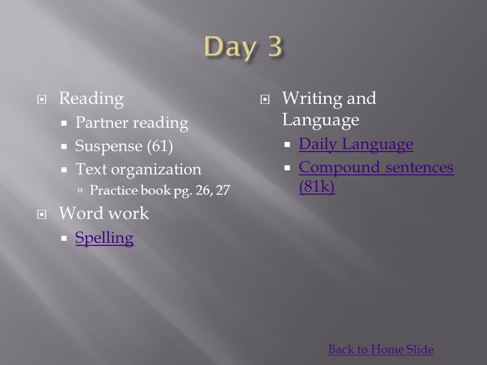 Day 3 Reading Word work Writing and Language Partner reading