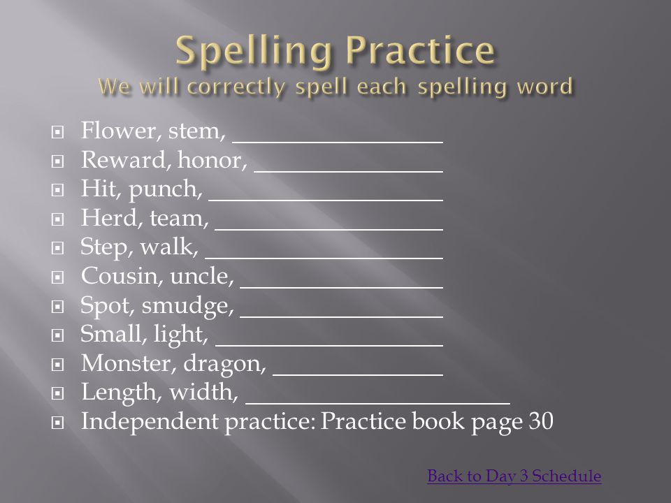 Spelling Practice We will correctly spell each spelling word