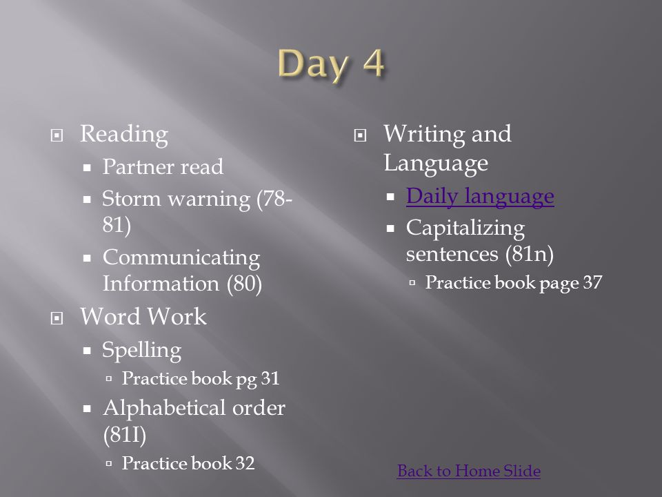 Day 4 Reading Word Work Writing and Language Partner read