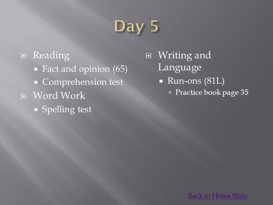 Day 5 Reading Word Work Writing and Language Fact and opinion (65)