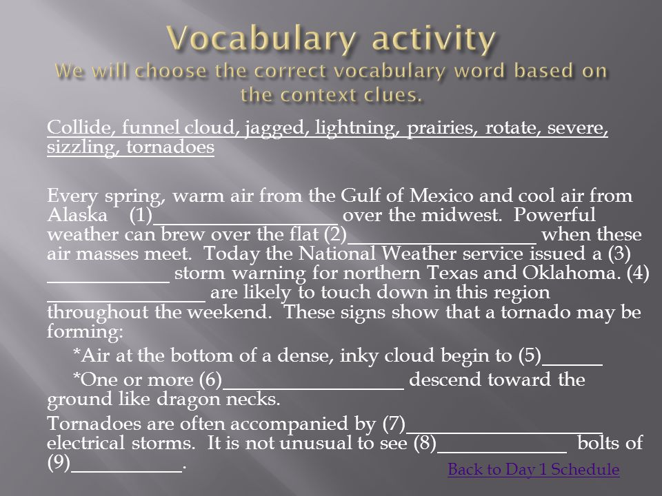 Vocabulary activity We will choose the correct vocabulary word based on the context clues.